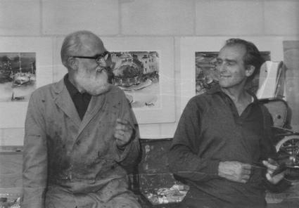Jan Willemen met vriend Bert Otten in het atelier van Bert