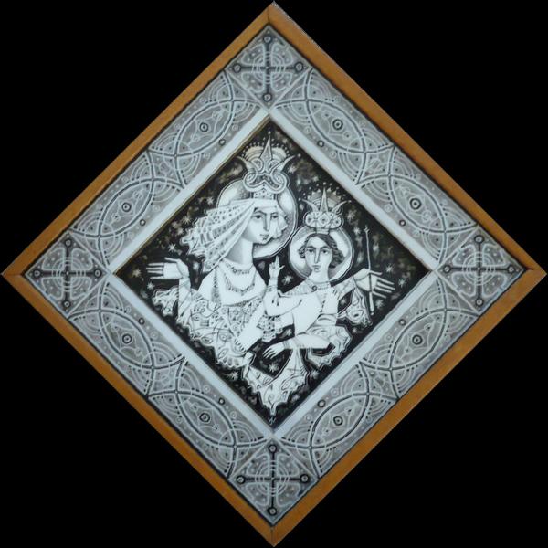 """Opaline glasschildering """"Madonna"""""""